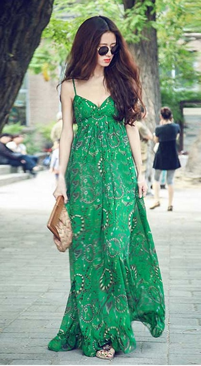 Green Spaghetti Straps Boho chic Maxi Dress For Party