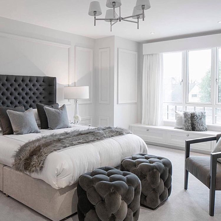 Grey And White Interior In Contemporary Bedroom