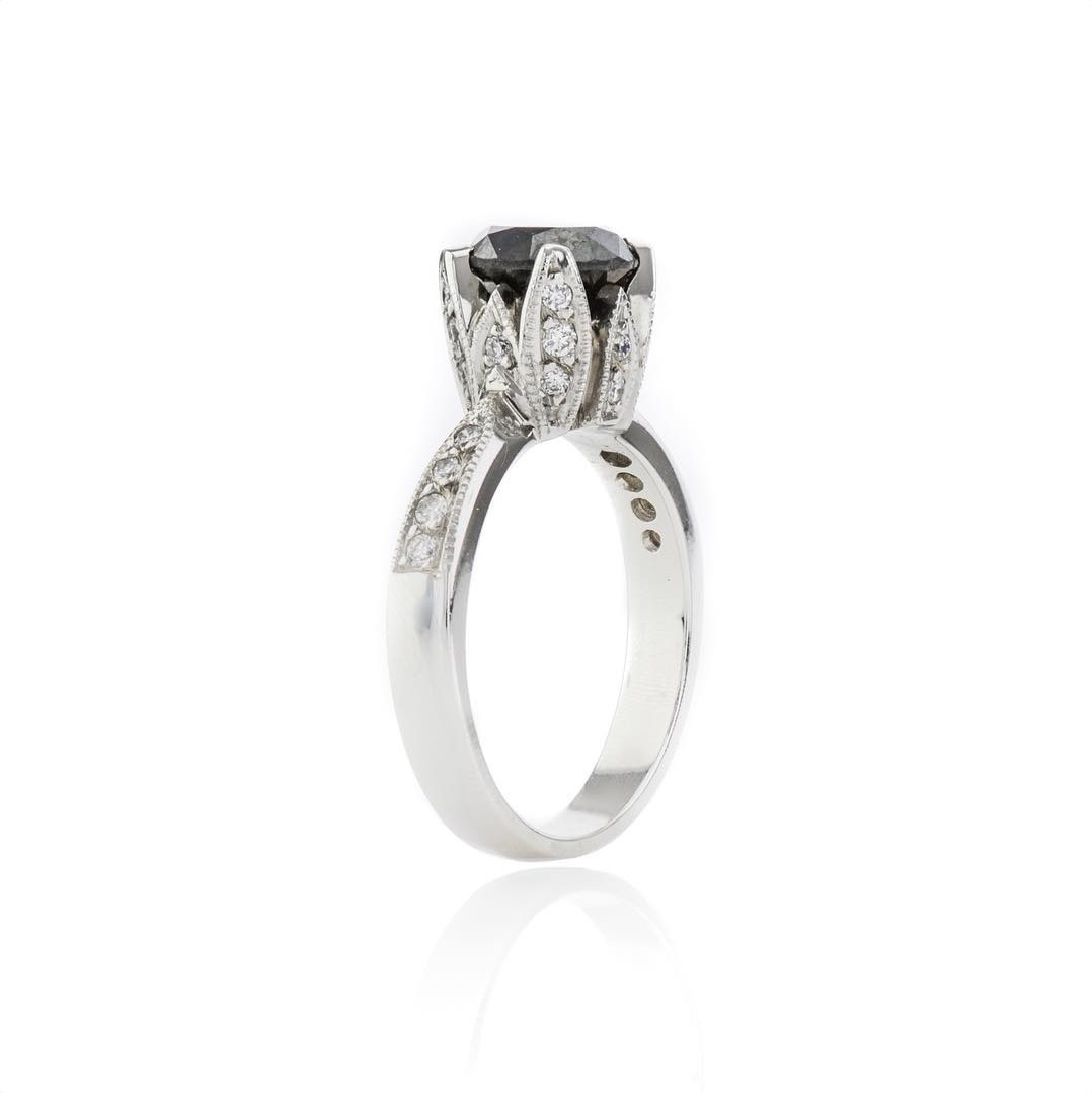Handmade Black Diamond Engagement Ring