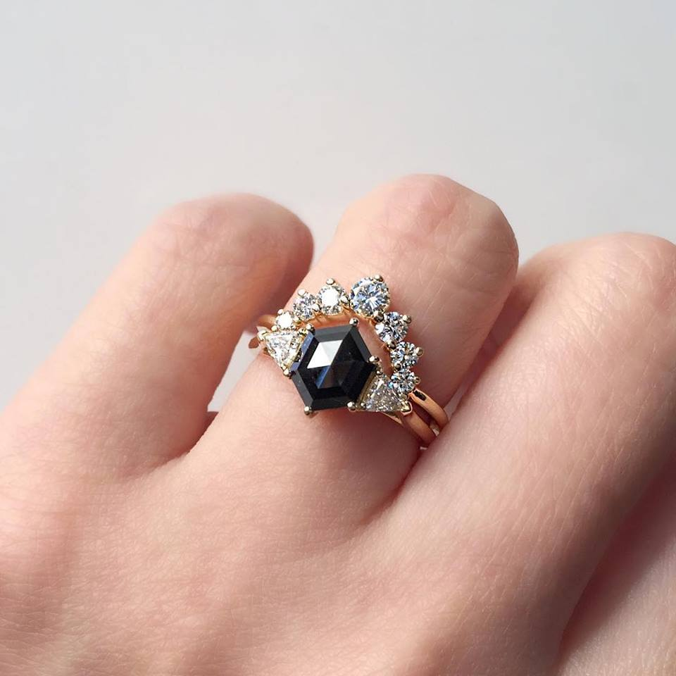 diamond wedding ct carat caravagio ring rose rings princess band gold black caravaggio p engagement set and product