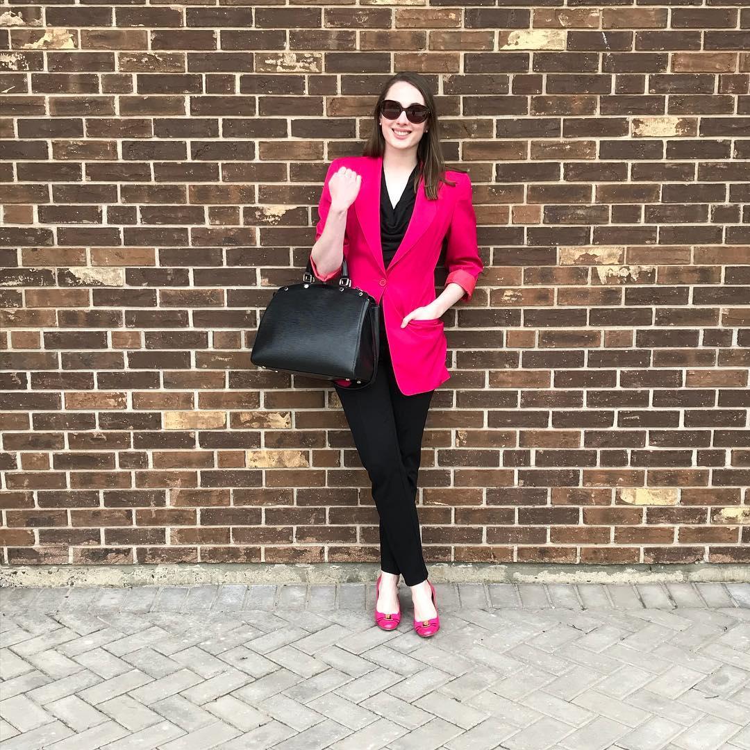 Hot Pink Blazer With Black