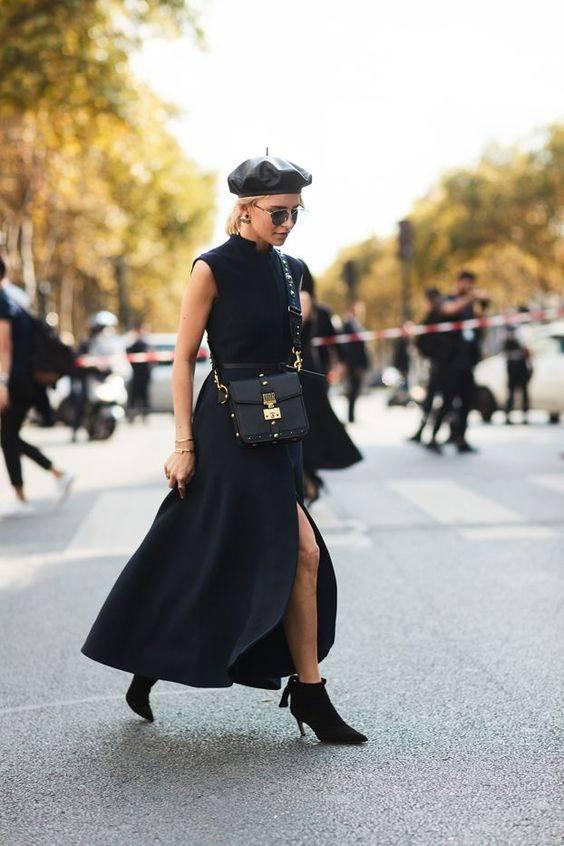 Impressive Black Long dress With Cap