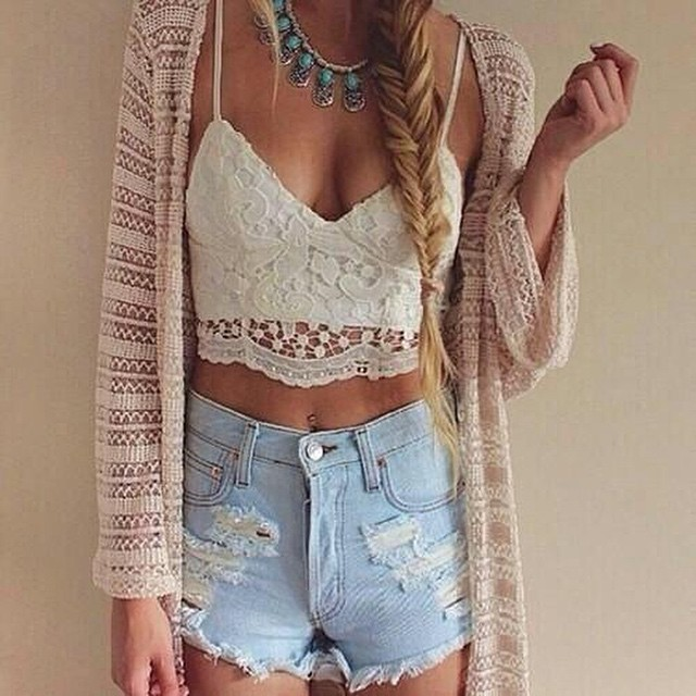 Lace Crop Top With Kimono