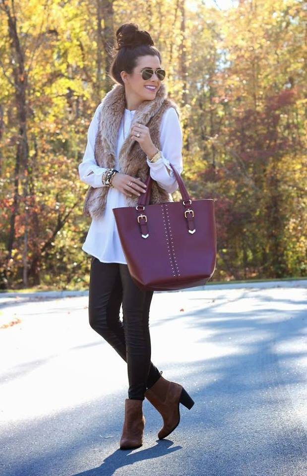 Leather Pant With Shirt And Faux Fur Scarf And Shoes