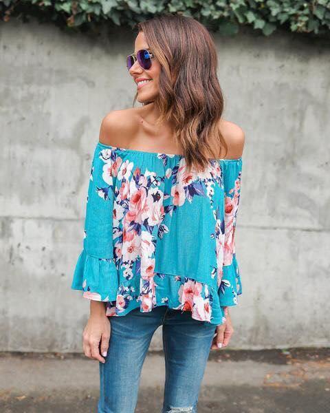 Light Blue Off Shoulder Floral Print Top With Jeans