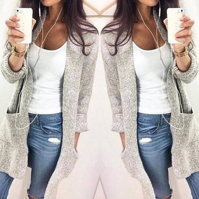 Light Grey Solid Pocket Knit Cardigan