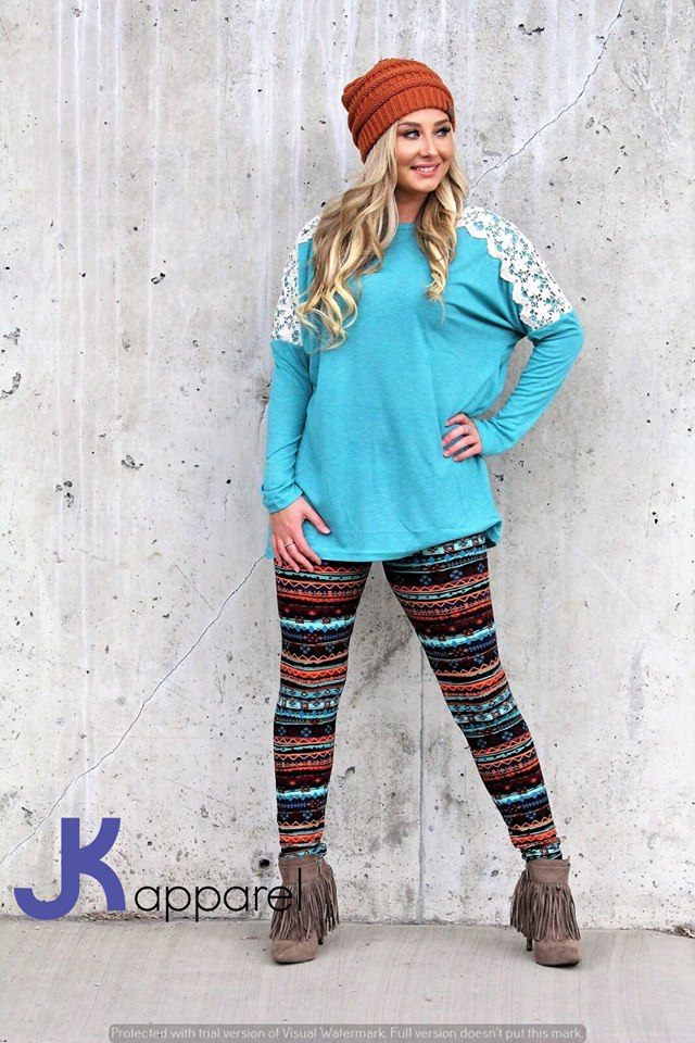 Lovely Blue Top With Printed Legging, Woolen Cap And Fringed Shoes