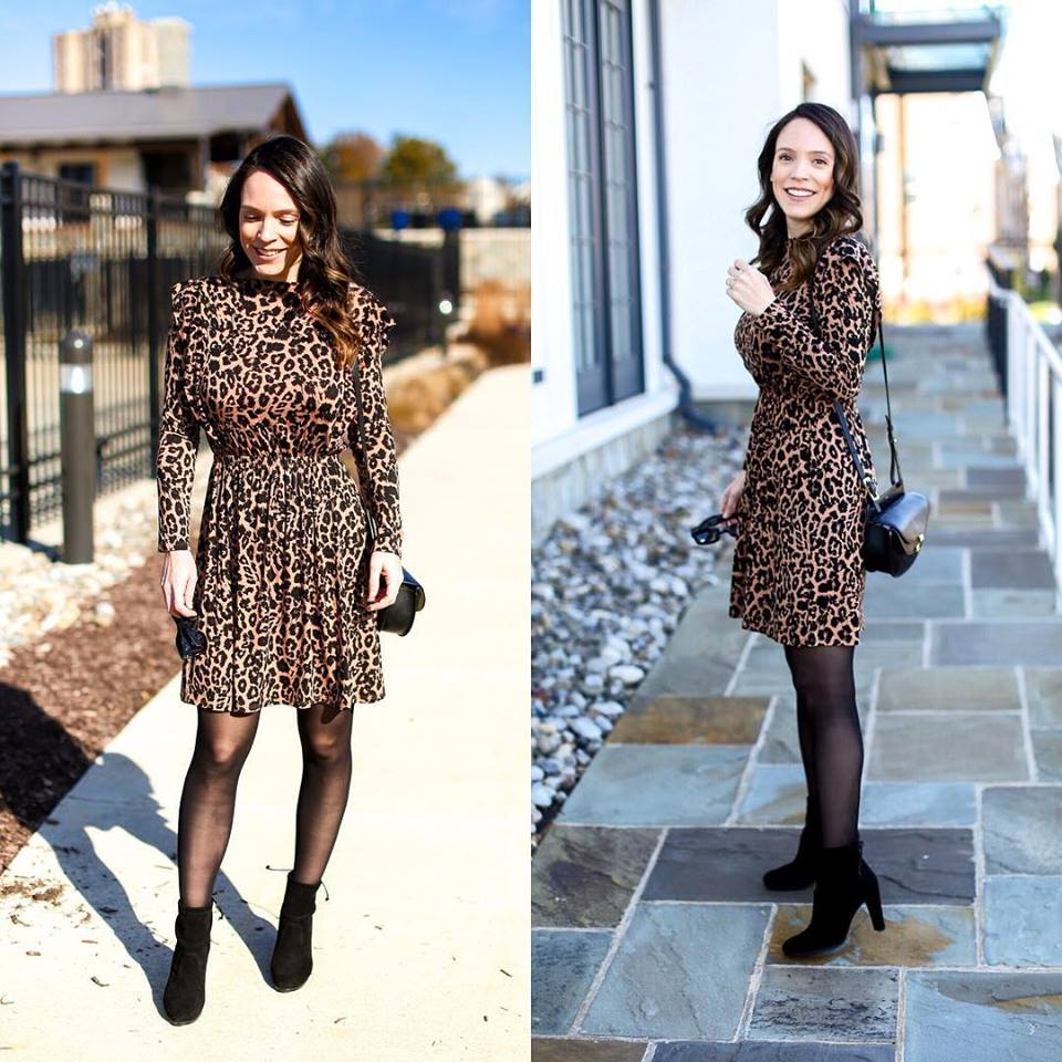 Lovely Leopard Print Midi With Stockings And Shoes