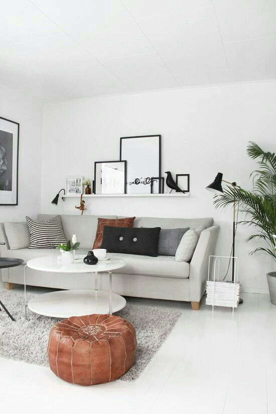 Lovely off White Contemporary Living Room