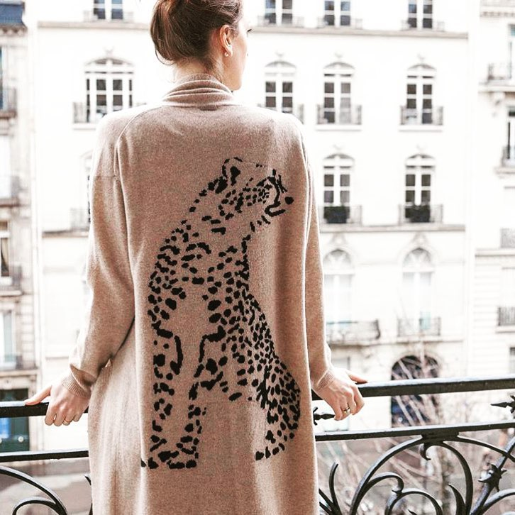 Modish Long Cardigan With Leopard Print On Back