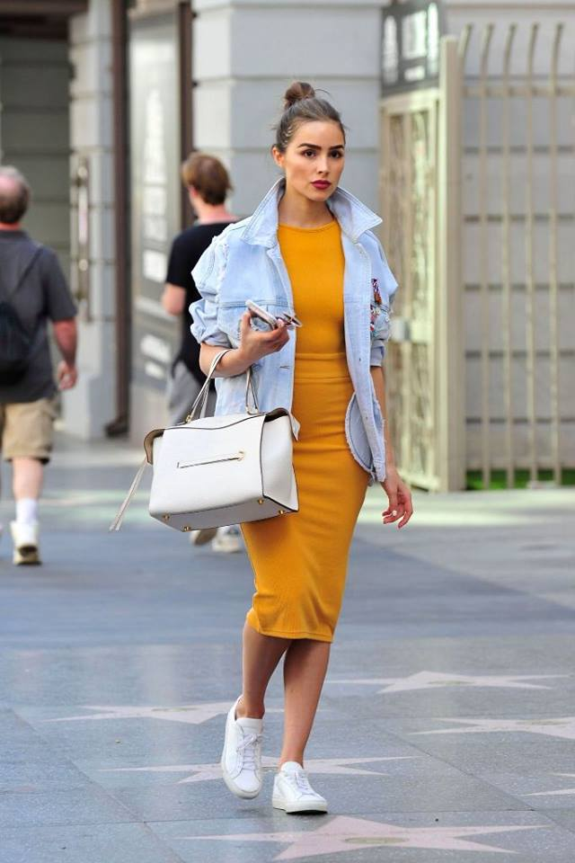 Mustard Midi With Denim Jacket And Sneakers