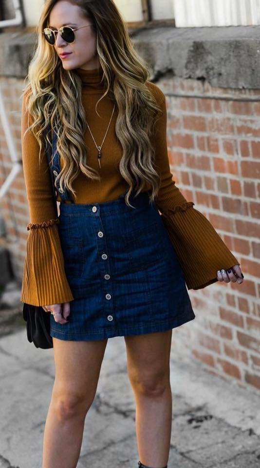 Mustard Ruffle Sleeve Sweater With Denim Mini Skirt