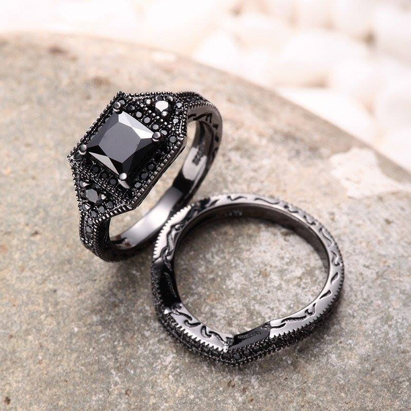 Natural Black Diamond Ring Design