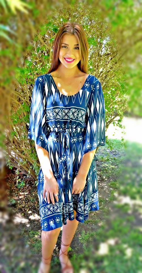Navy Blue Cotton Dress For Summer