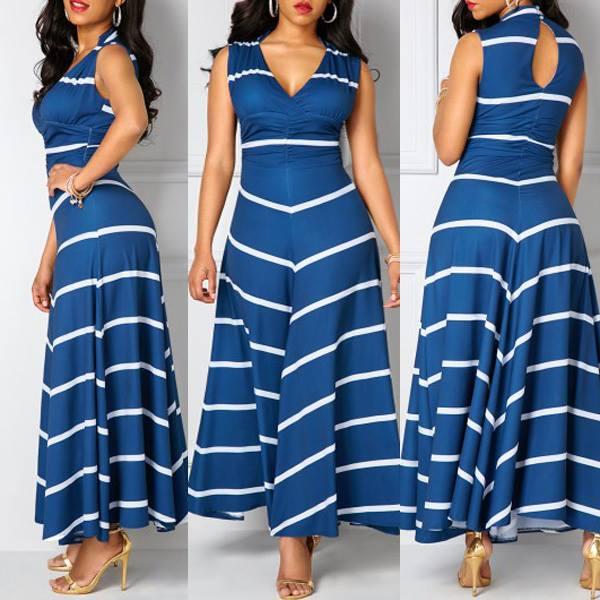 Navy Blue Cut Out Back V-Neck Maxi Dress