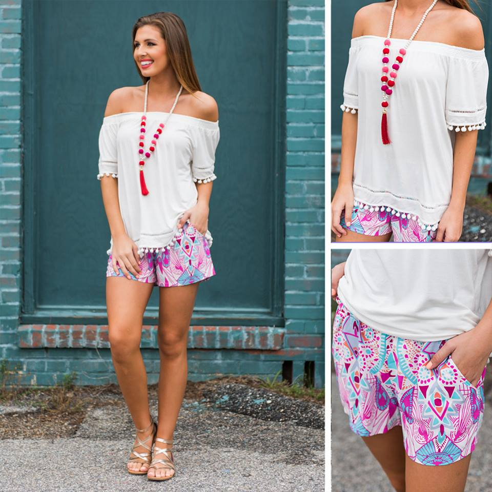 Nice Off Shoulder Top With Artistic Shorts