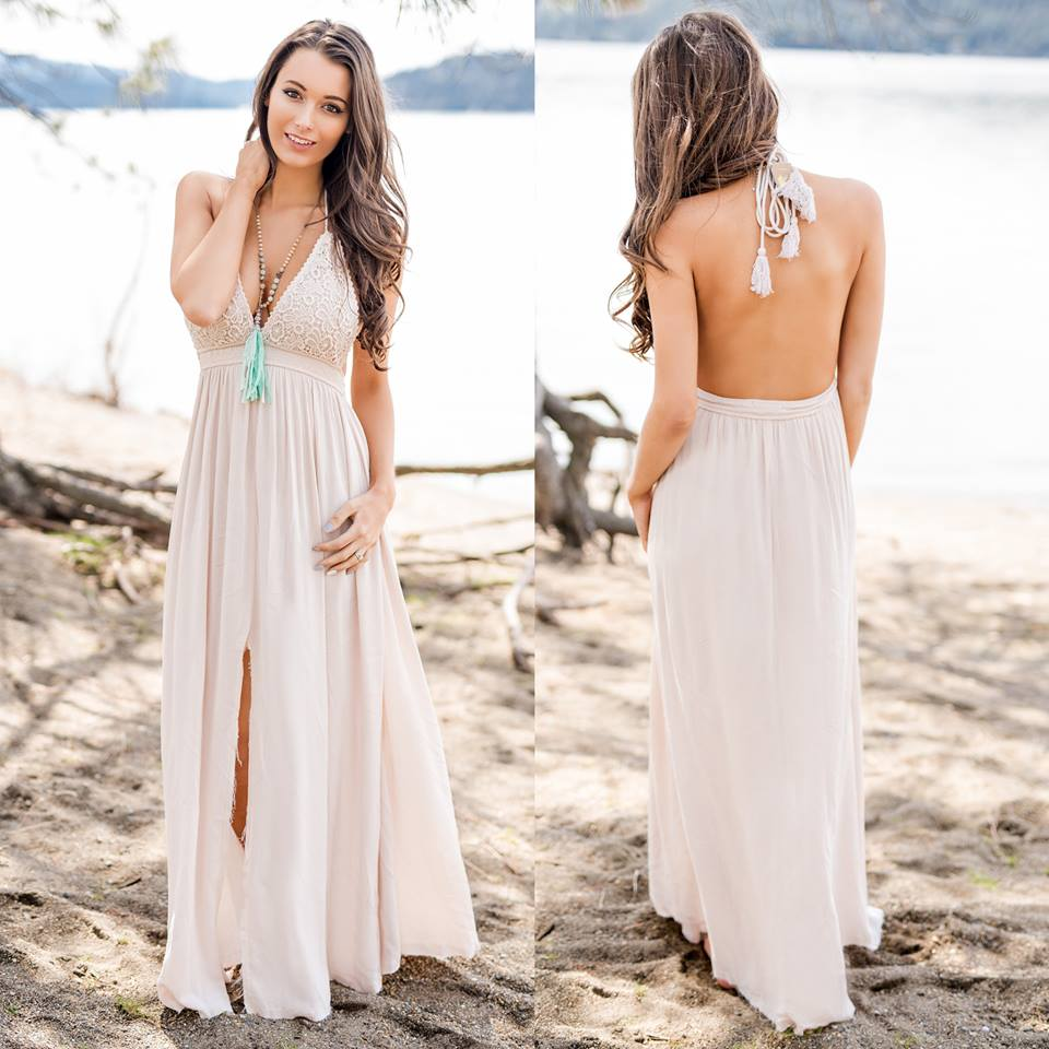Nude Crochet Open Back Maxi Dress With Front Slit