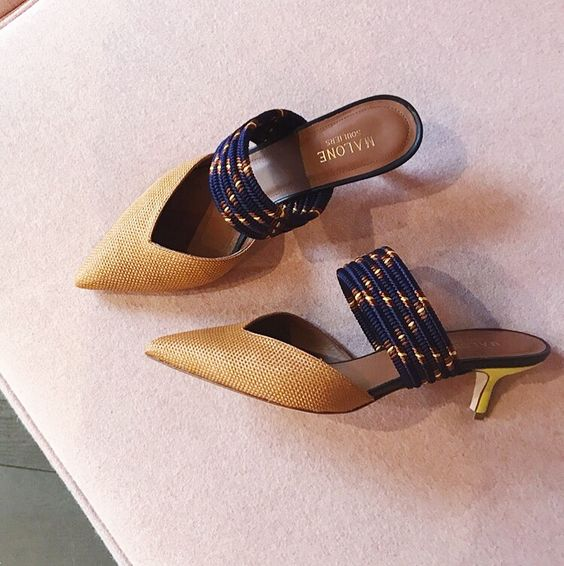 Peep Toe Golden & Blue Heels
