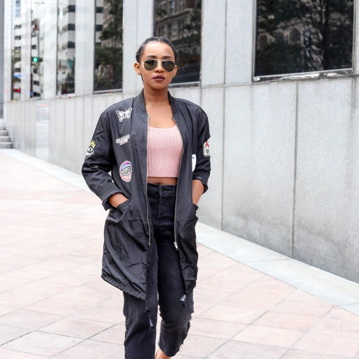 Pink Crop Top With Jeans And Jacket