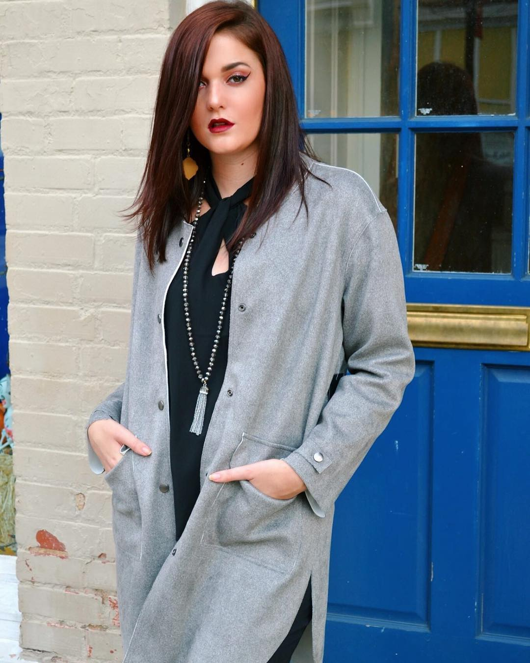 Plane Grey Cardigan With Stylish Black Top