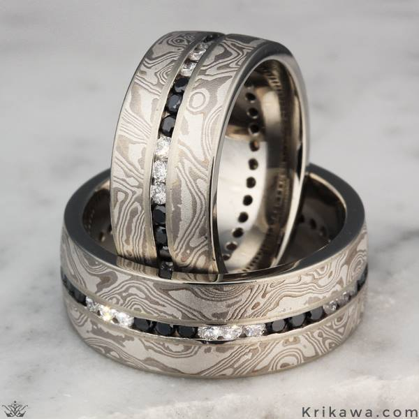 Platinum Black & White Diamond Ring Design