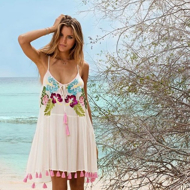 Pretty Baby Pink Embroidered Spaghetti Straps Dress