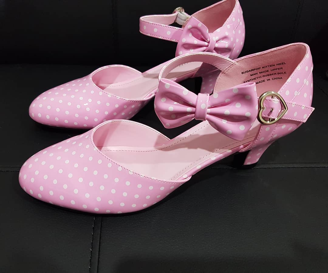 Pretty Pink Polka Dots Kitten Heels Design