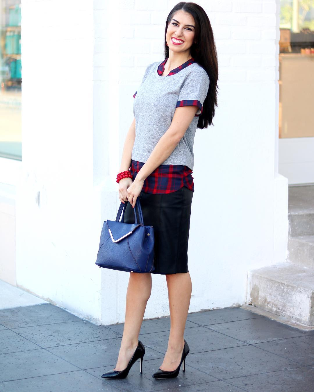 Pretty Plaid Shirt, Skirt And Sweater