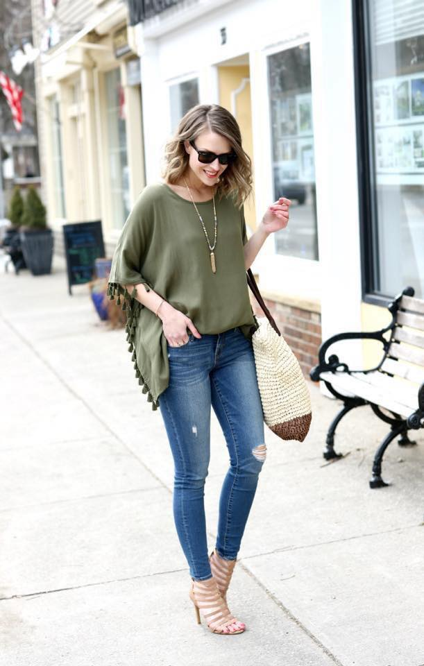 Ravishing Deep Green Top With Jeans And Handbag