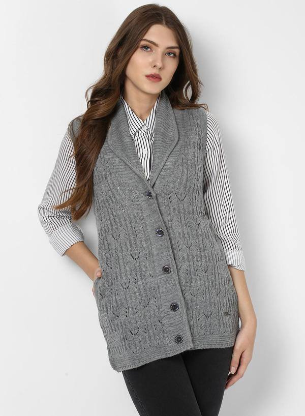 Ravishing V-Neck Self Design Cardigan