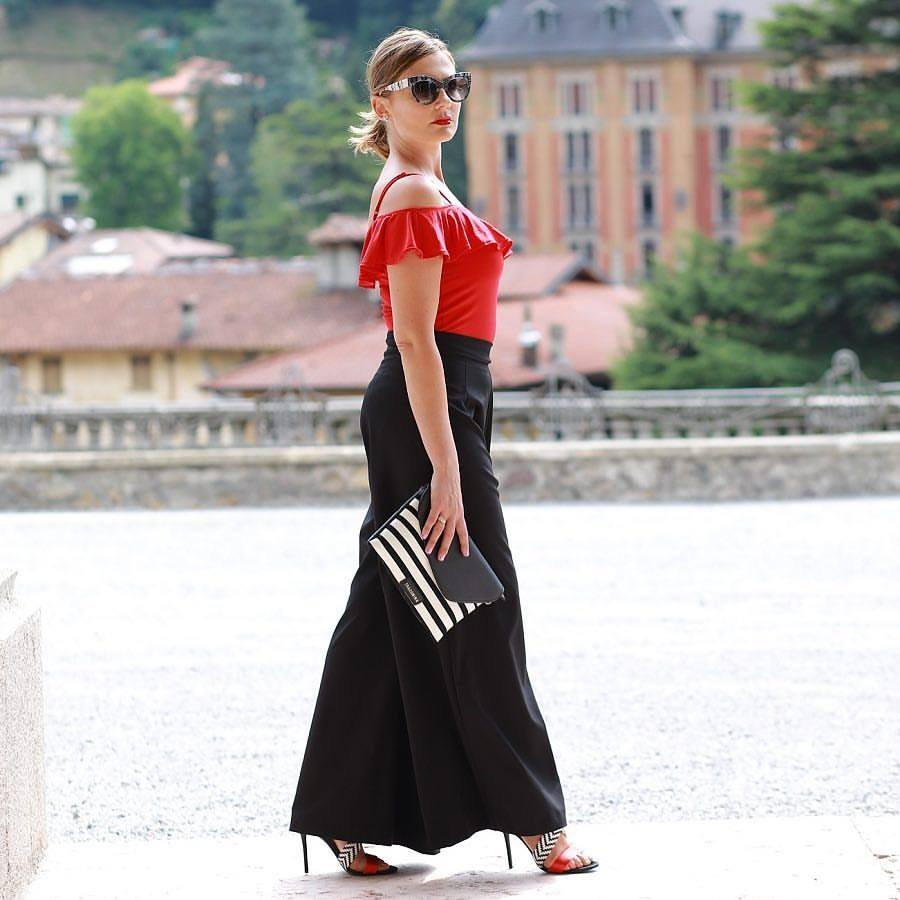 Red Off The Shoulder Top With Black Palazzo Pant