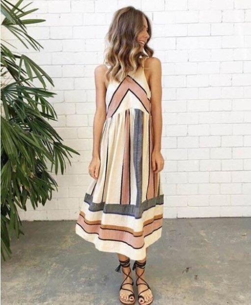 Retro Style O-Neck Stripes A-Line Dress For Summer