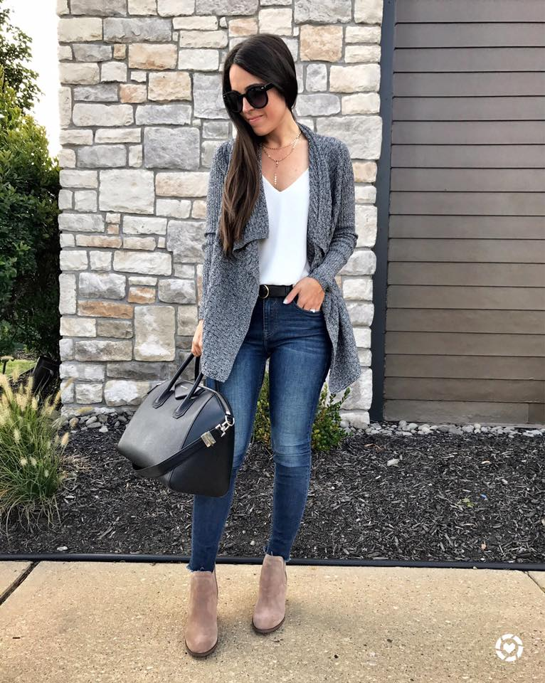 Rocking Grey Carigan With White Top, Jeans And Handbag