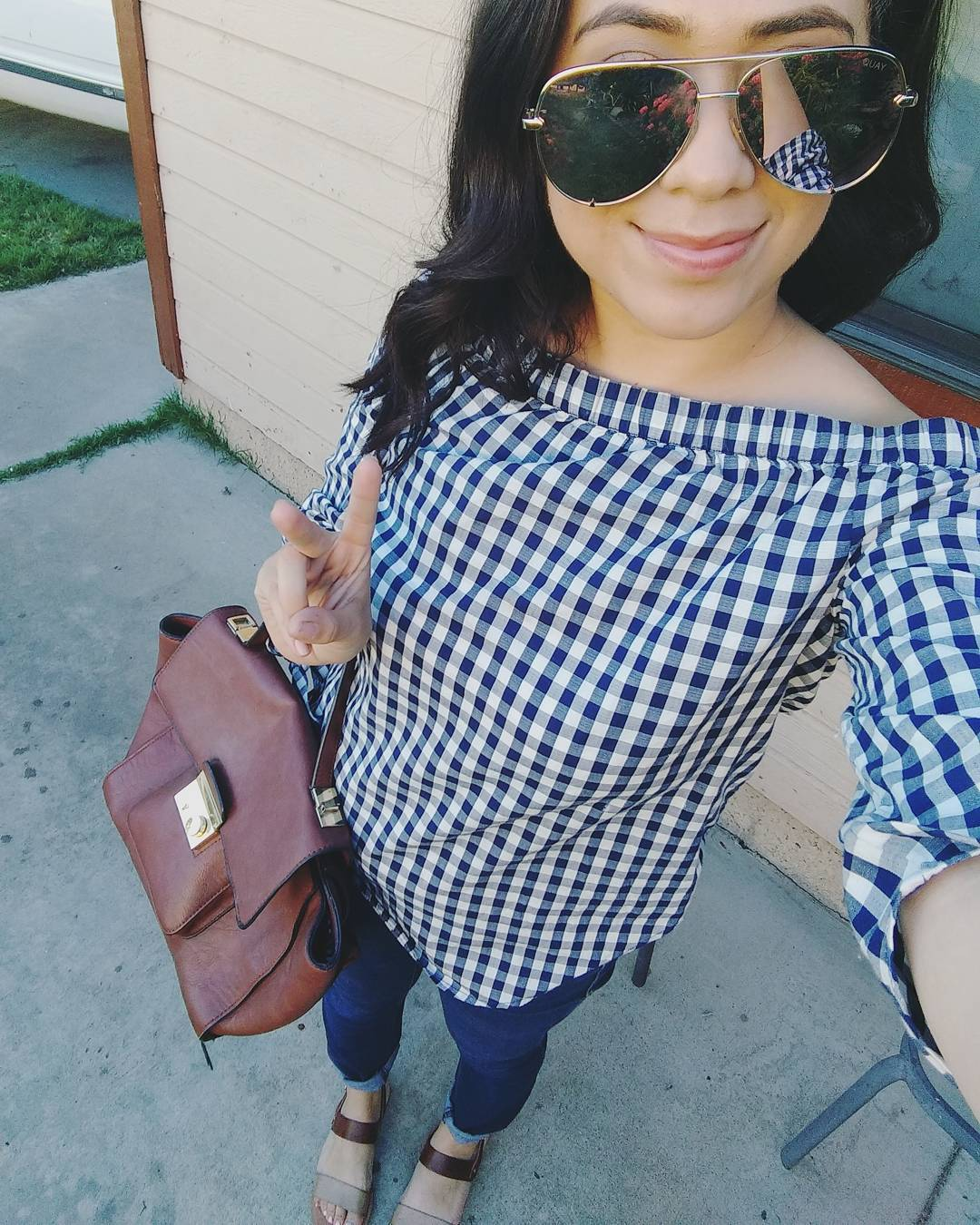 Rocking Off Shoulder Gingham Print Top With Blue Jeans And Handbag