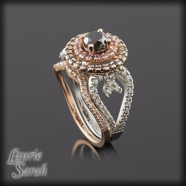 Rose Gold, Black & White Diamong Ring For Engagement Ring