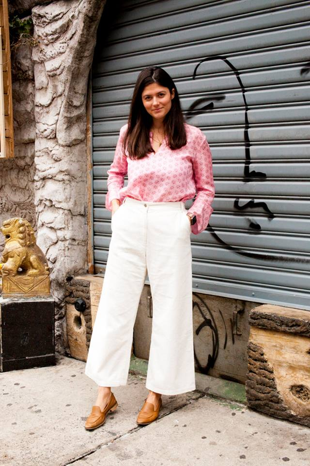 Sassy Pink Printed Top With White Palazzo Pant