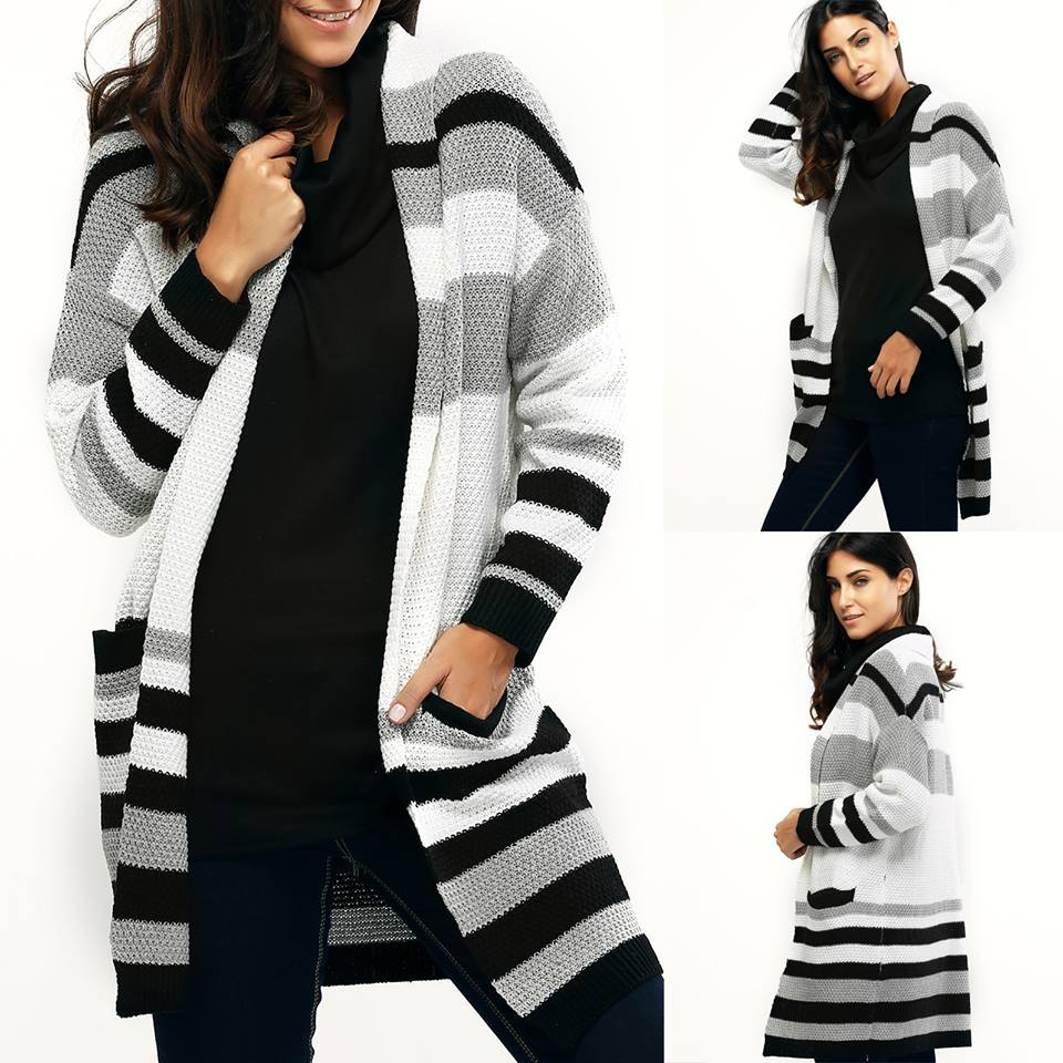Sassy Striped Loose Fitting Cardigan With Pocket