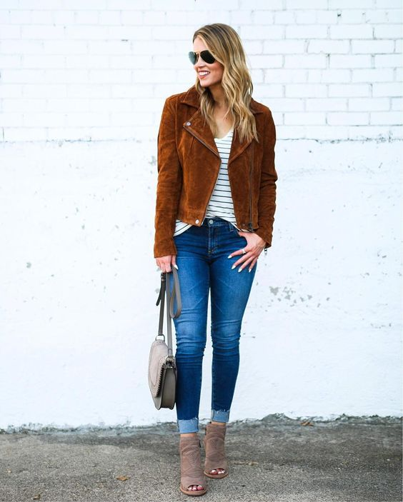 Sassy Stripes Top, Blue Jeans, Jacket And Ankle Boots