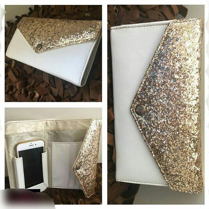 Shimmery Clutch Bag With Pockets For Accessories
