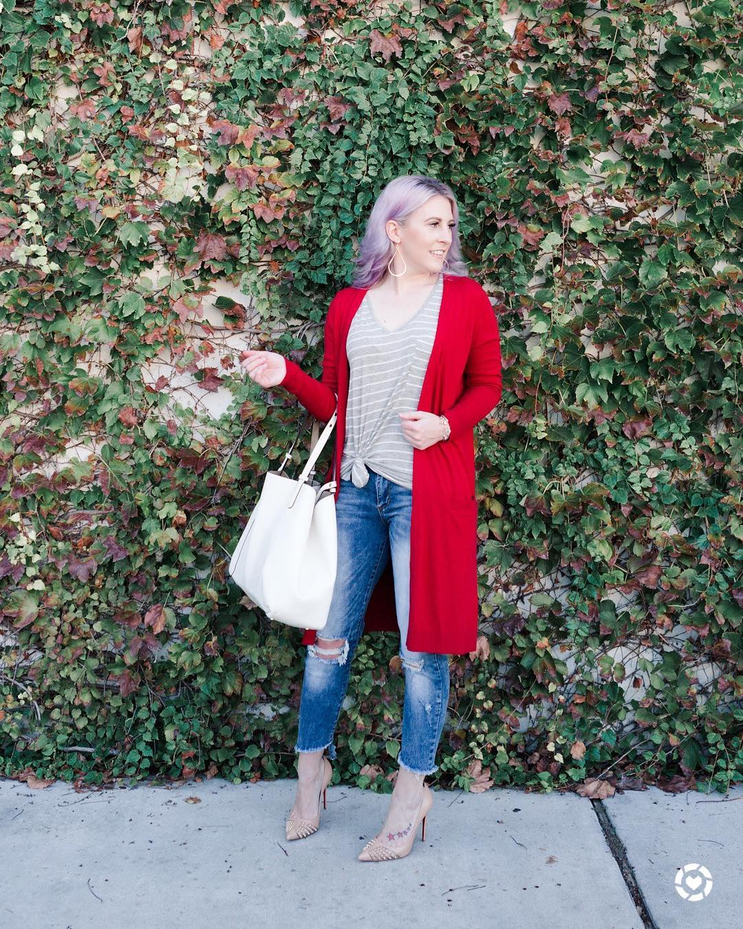 Simple Stripes Top, Distressed Jeans With Red Cardigan
