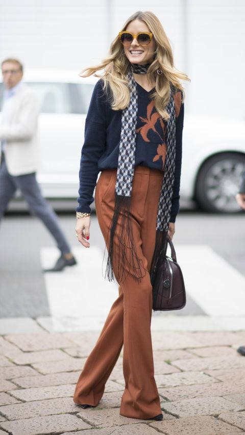 Simple Sweater With Flower And Pant & Warm Scarf