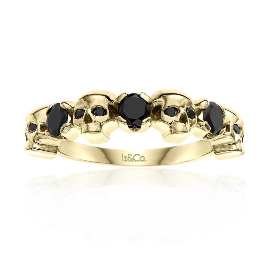 Skull With Black Diamond Engagement Ring Design