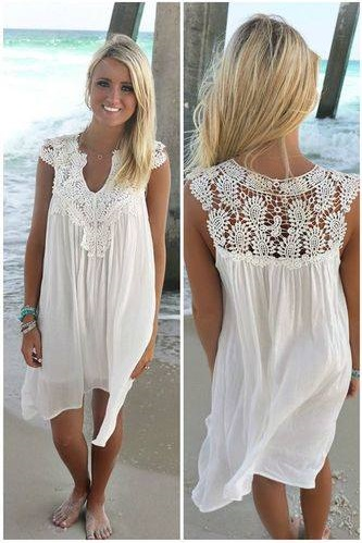 Sleeveless White Lace Cocktail Party Dress