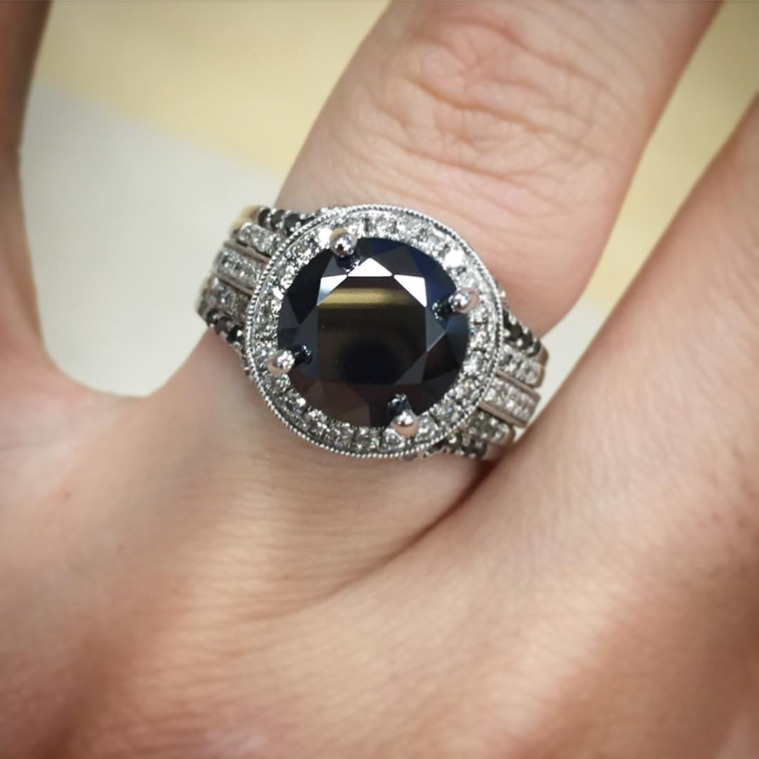 Specular Black Diamond Ring Design