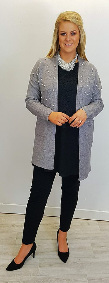 Statementsl Grey Pearl Design Cardigan With Beautiful Necklace