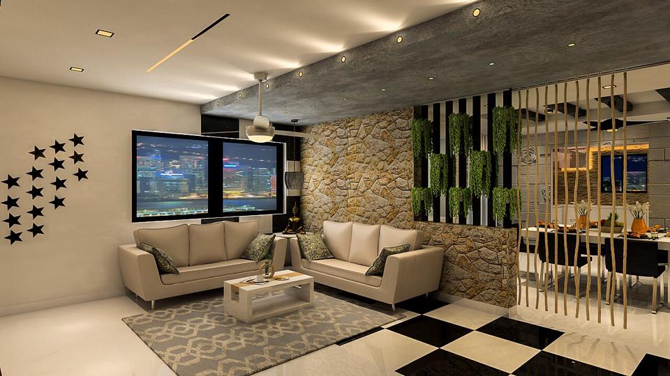 Stone Feel With Beautiful Stars On Wall Modern Touch Living Room