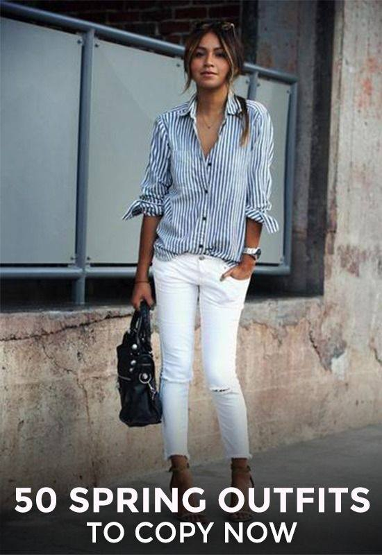 Stripes Button Down Shirt With White Ripped Jeans And Handbag