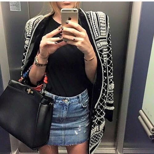 Stunning Pearl Decorated Black Cardigan Paired With Denim Mini Skirt And Black Top