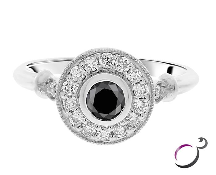 Stunning Round Brilliant Cut Black Diamond Ring