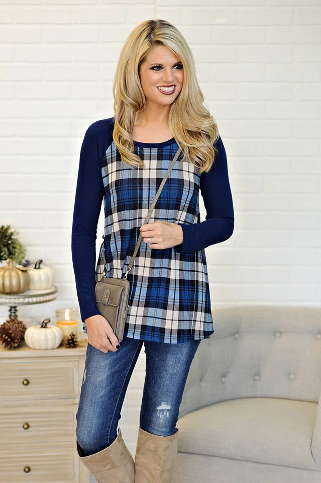 Superb Blue Plaid + Boots = Perfect Fall Outfit